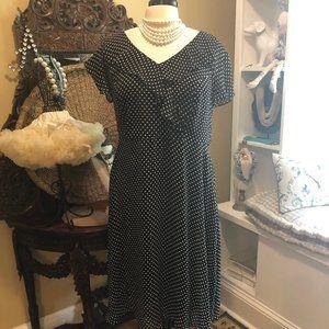 Dana Kay 20W Black with White Polka Dot Dress